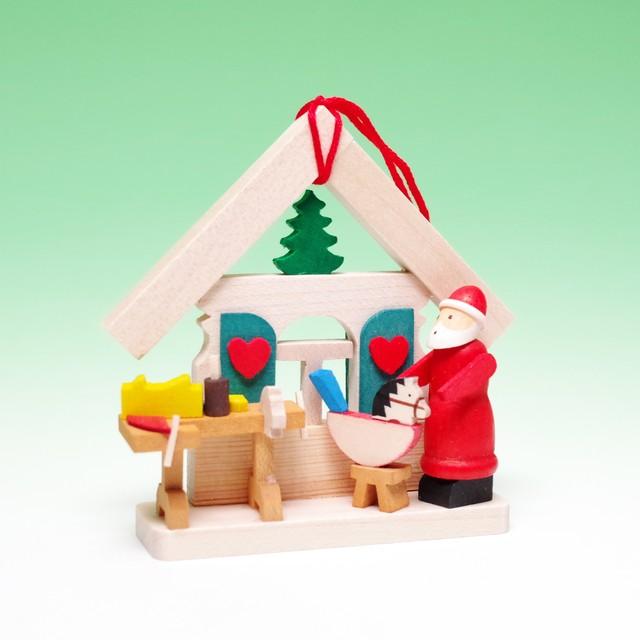 オーナメント サンタの家と木馬
