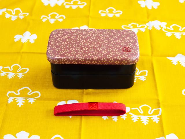 和布(わふ)布貼長角二段弁当箱 桜(30113)