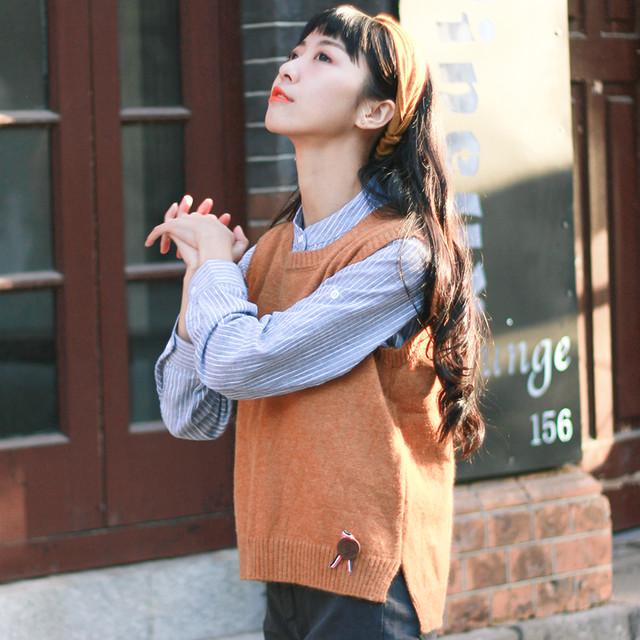 【tops】韓国系レトロ学園風ノースリーブ合わせやすい着痩せルーズニットベスト