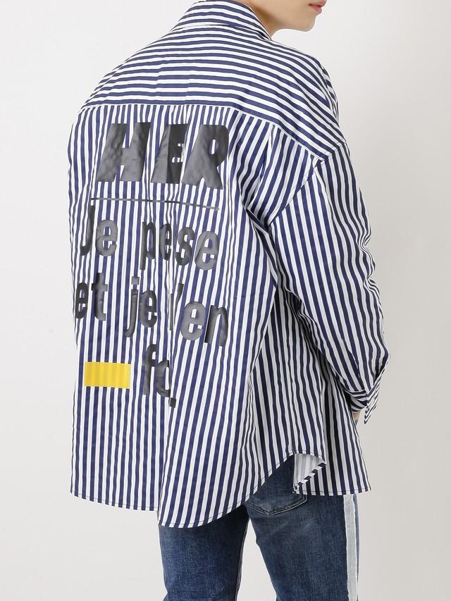 【即日出荷】ビックロゴストライプジャケット シャツ アウター メンズ ビッグ 大きめ