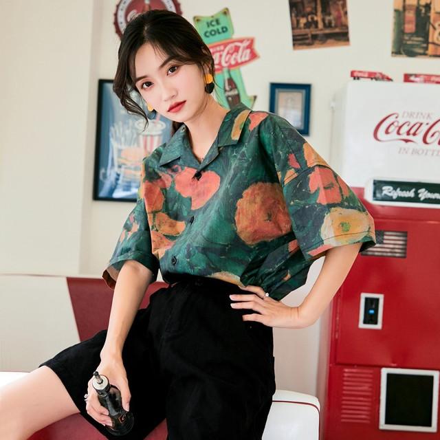 【菲娜蘇シリーズ】★シャツ★ トップス レトロ 半袖 カッコいい 香港風 レディースファッション グリーン S M L