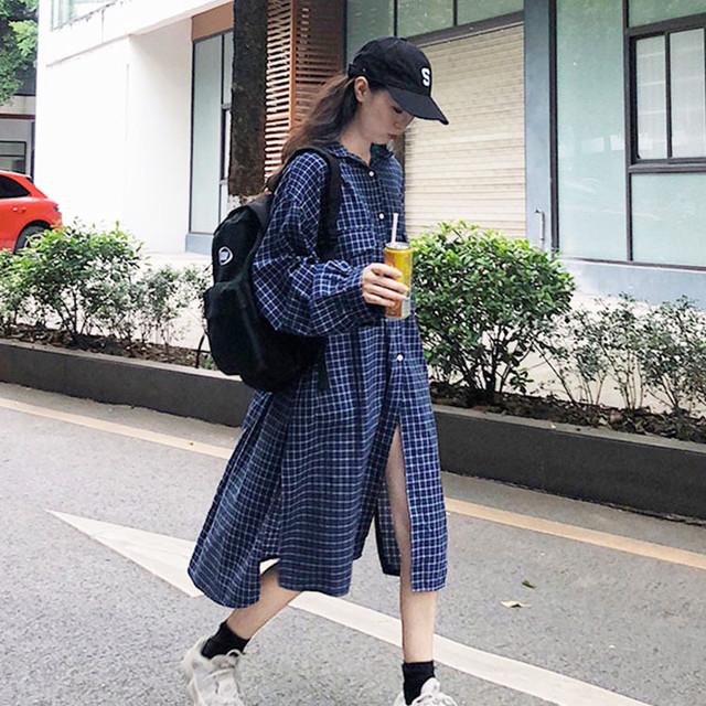 【outer】韓国系長袖着痩せ合わせやすいスリットすね丈折襟チェック柄シャツカーディガン