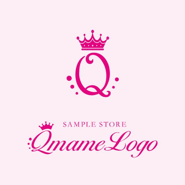 【美容院・ネイル・エステサロン向け】ピンクシンプルだけどゴージャスな王冠のおしゃれなQロゴ(171012_01_m)