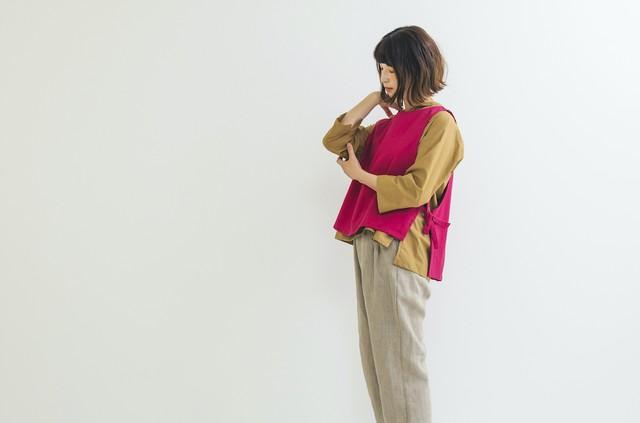 【期間限定受注】コットンリネンワイドベスト pinkred
