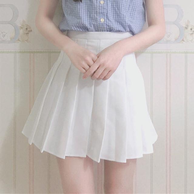 【bottoms】ハイウェスト無地シンプル着痩せスカート