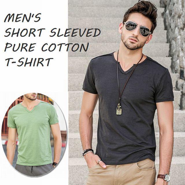 メンズ無地半袖VネックTシャツ カットソー / MEN'S SHORT SLEEVED PURE COTTON T-SHIRT (WCN-1529765872)
