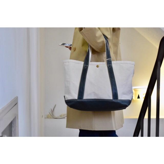 Simva161-0032 New Canvas Leather Tote Bag Medium