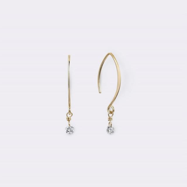 Diamond V Shape Hook pierce K18YG(ダイヤモンドVシェイプフックピアス K18イエローゴールド)