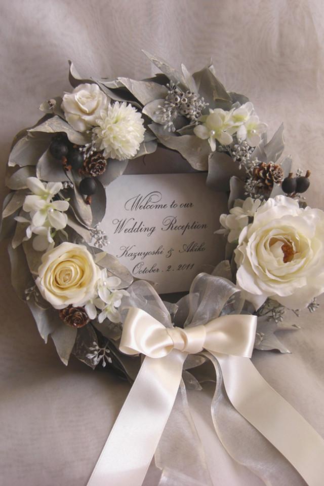 ウェディング ウェルカムボード リース(ホワイトユーカリ)結婚式