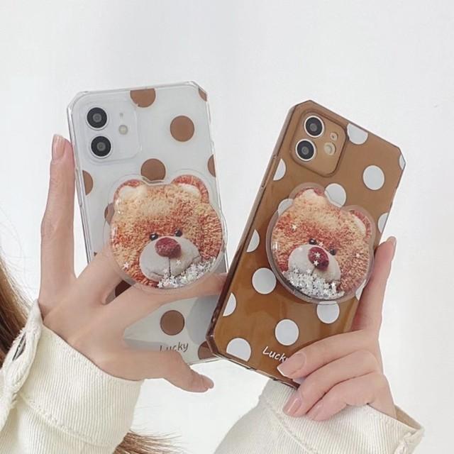 アクセサリー グリップ グリップトック スマホグリップ iPhoneケース スマホケース キラキラフレークテディベアグリップ くま クリア レディース かわいい 大人 おしゃれ 韓国