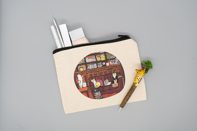 【キャンバスフラットポーチM】学ぶ柴犬 ※B6ノート・母子手帳の収納もできるサイズ※