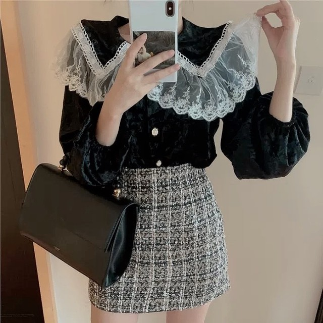 frill collar vintage tops 2color