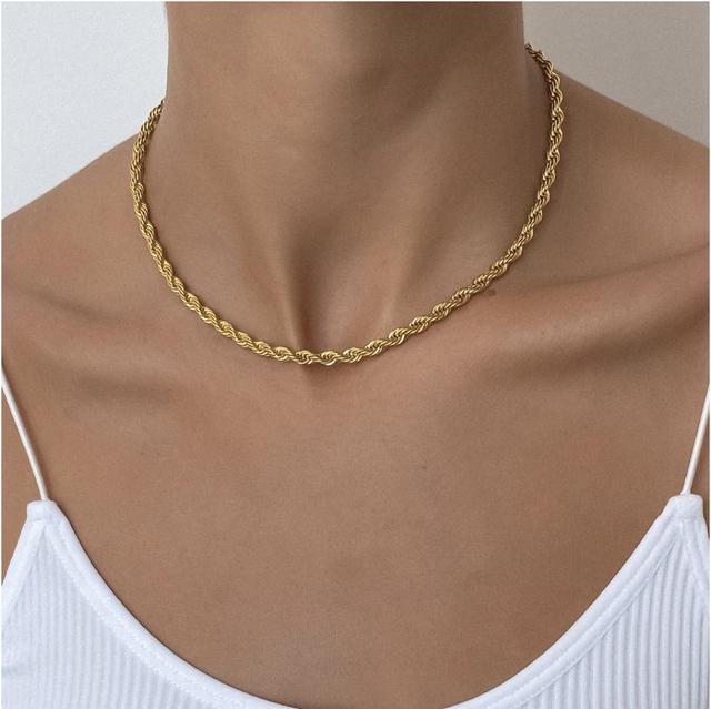 【女性人気No.1】Diamond cut rope chain 【5mm/40cm】