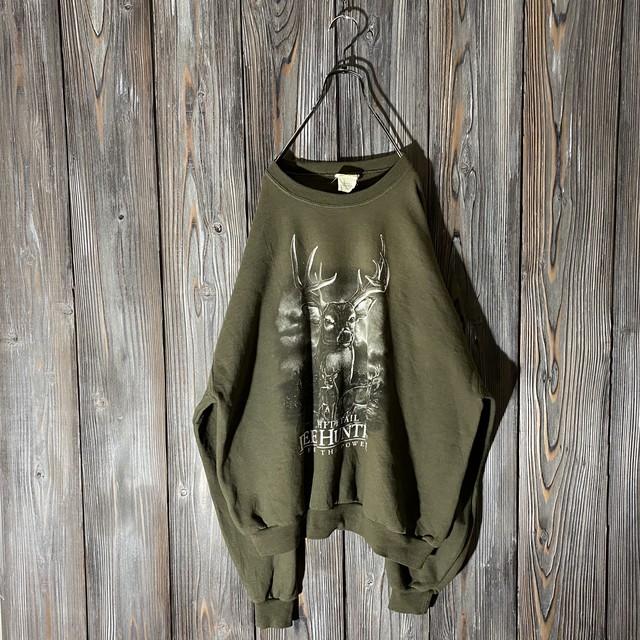 [used]deer print moss green sweat