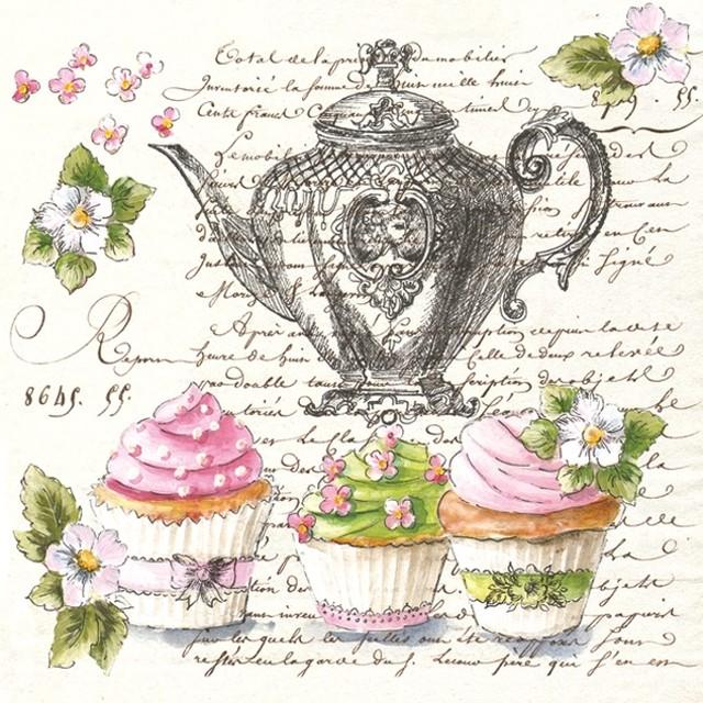 【Maki】バラ売り2枚 ランチサイズ ペーパーナプキン Retro Cupcakes and Teapot クリーム