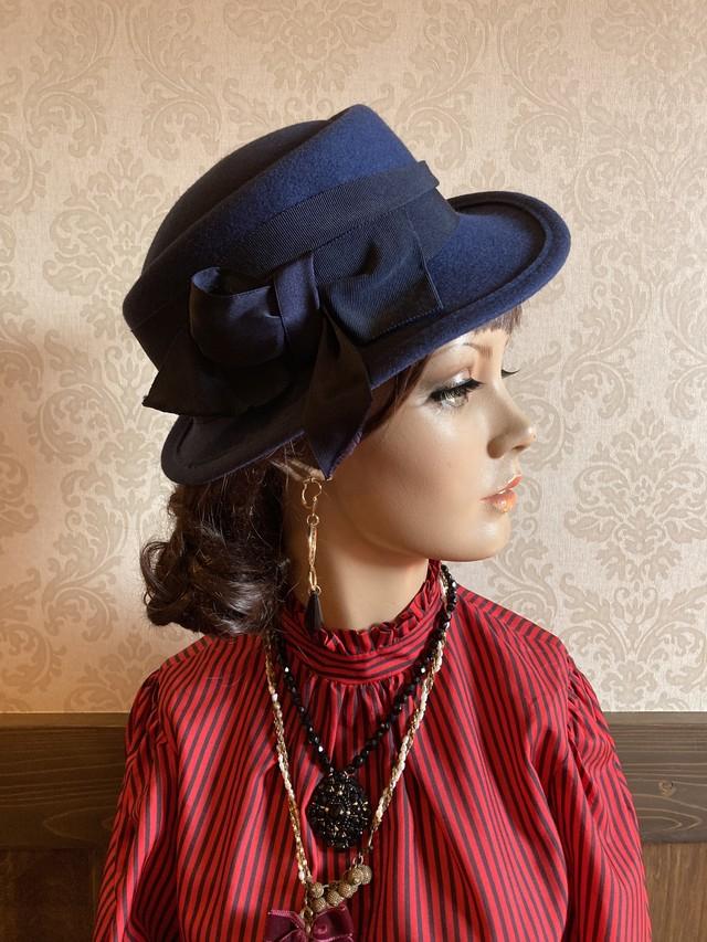 ネイビー 黒リボン HAT