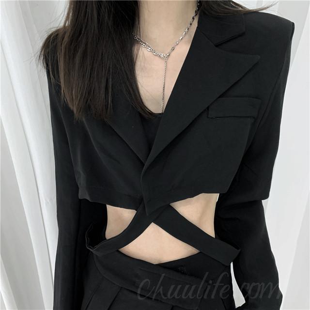 【アウター】絶対欲しい韓国系折襟ミニ丈透かし彫りボタンスーツジャケット41582489
