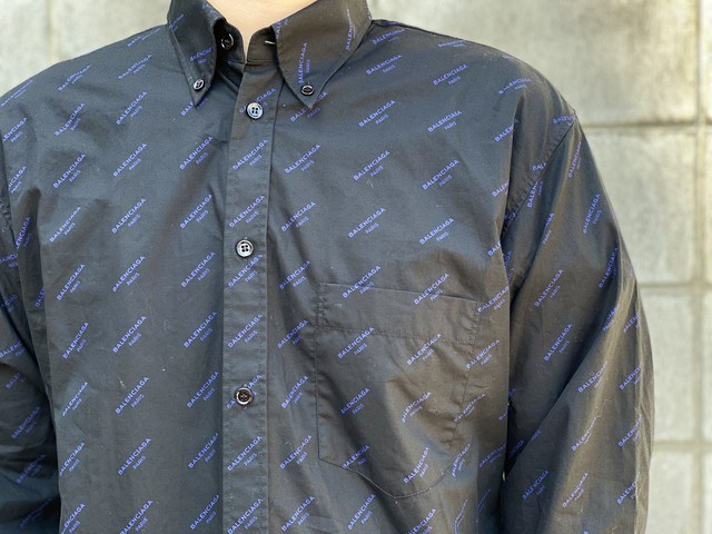 BALENCIAGA LOGO L/S SHIRT BLACK BLUE 38 165JE6344