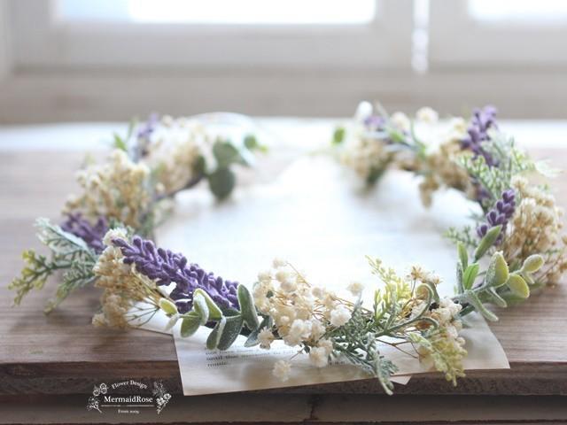 かすみ草とラベンダーのフロッキー花冠