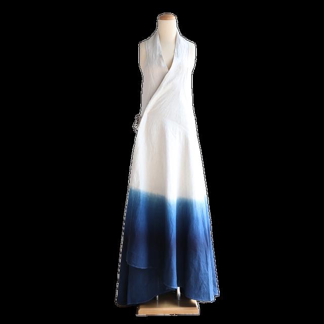 琉球藍染 ロングラップドレス | グラデーション