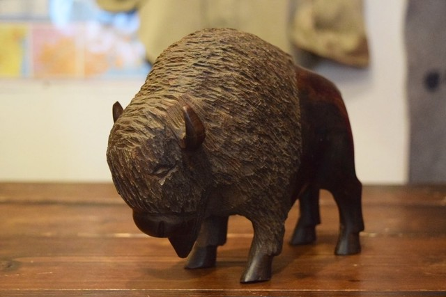 USED Bison Hand craft wooden ornament G0274