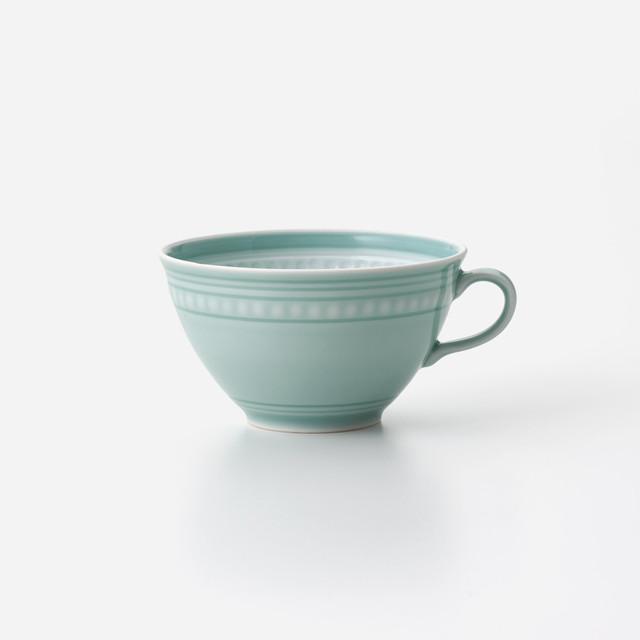 青磁印花 スープカップ