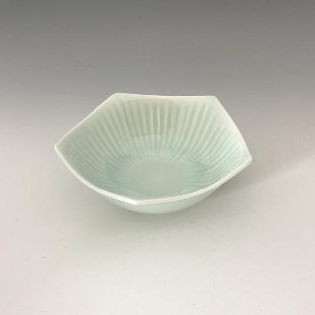 【中尾純】青白磁線彫五角鉢