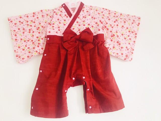 女の子用袴 ロンパース 梅模様の小柄ピンク色