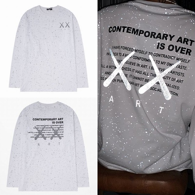 ユニセックス 長袖 Tシャツ メンズ レディース 星空 ×マーク 反射プリント スプラッシュインク ラウンドネック オーバーサイズ 大きいサイズ ストリート TBN-625390889561