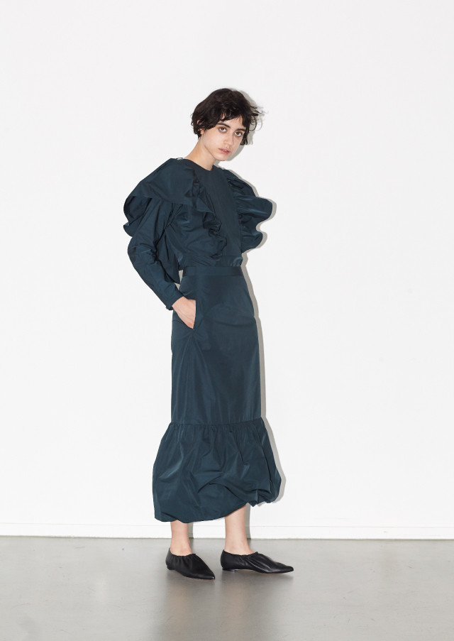 Taffeta flared top