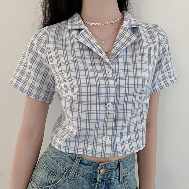 レトロライトブルーチェックショートシャツ D2285