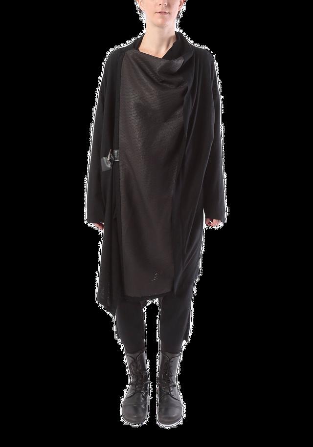 [着るアート /コートストール] レザー&ウール:COAT STOLE LEATHER&WOOL 2108 BLACK ミハイルギニスアオヤマ[登録意匠][MADE IN JAPAN][税/送料込み][受注生産]