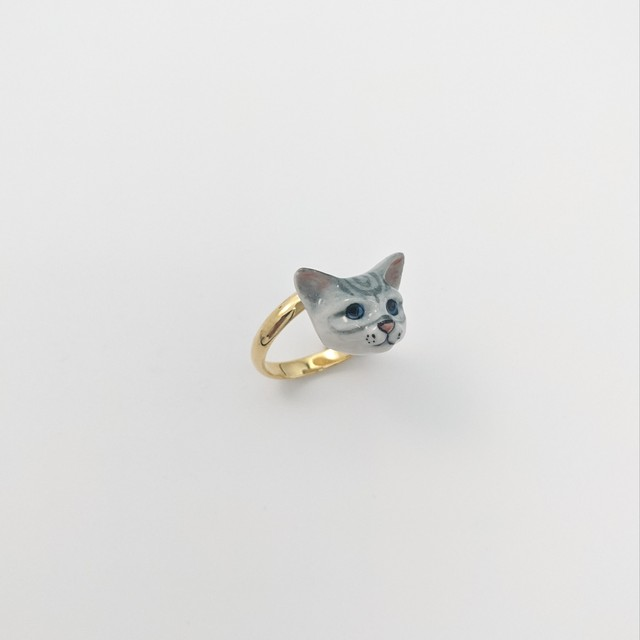 【Nach】 Gray cat face ring