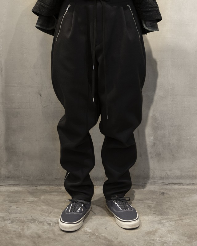 T/f polyester twill baggy tapered pants - deep sea