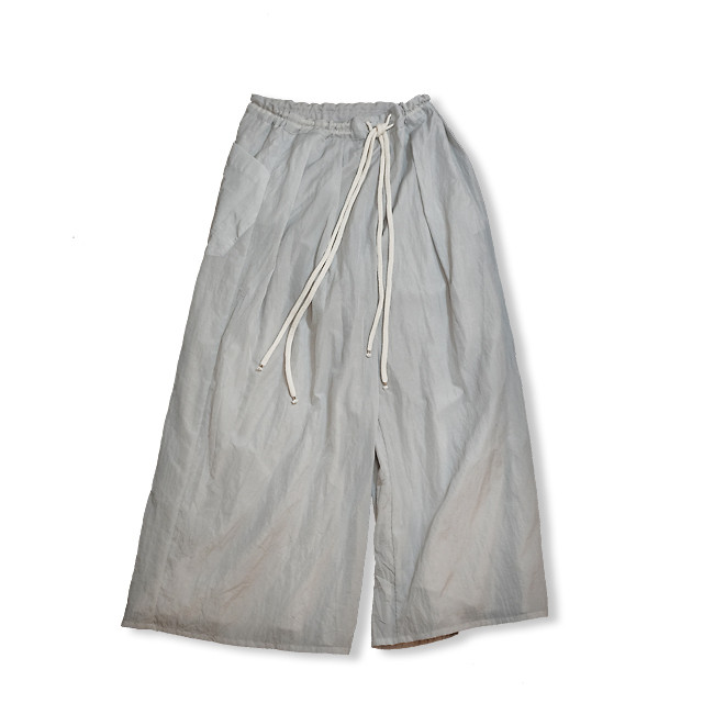Reversible wide pants  [ Pale gray × Pale gray ]