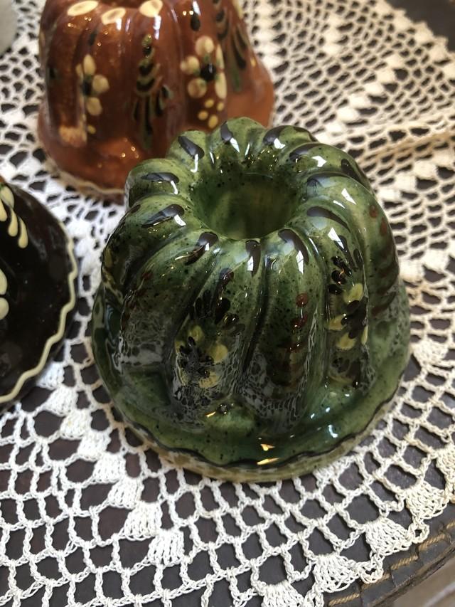 フランスアルザス地方 陶器のクグロフ型 グリーンSサイズ