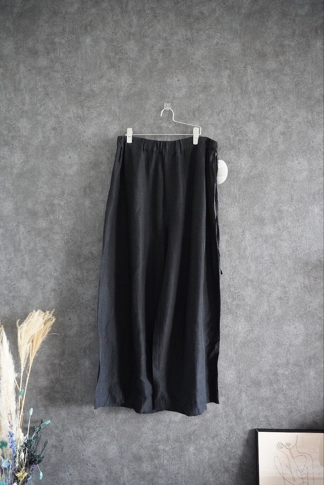 【緊急事態延長SALE】 VOAAOV linen rayon wide pants Black