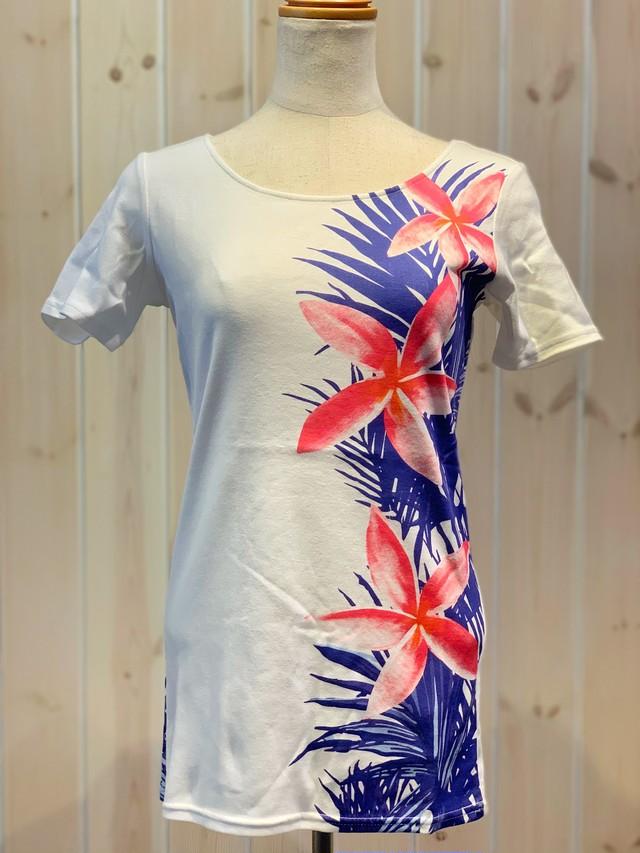 【Mauna loa/マウナロア/MMJ】ストレッチTシャツ 半袖 プルメリアパーム フラ レッスン着に最適○