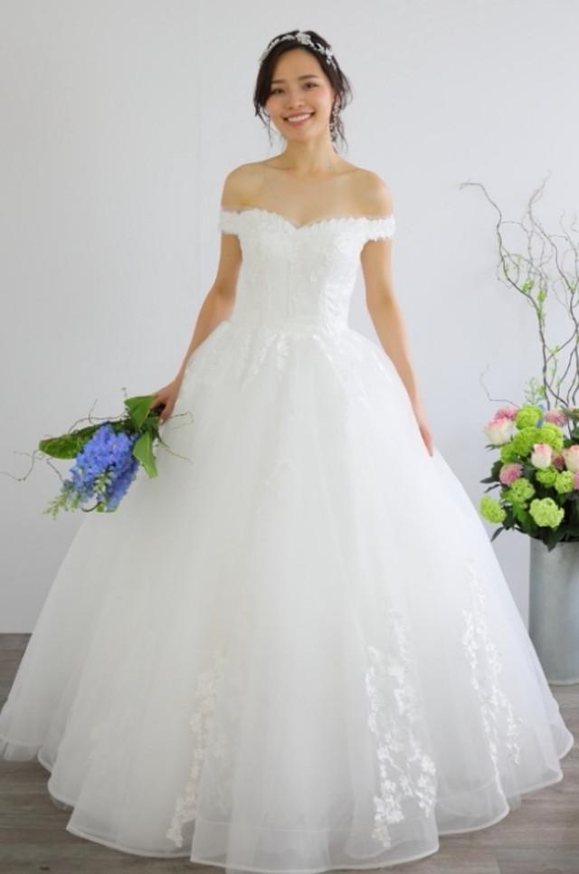 ウェディングドレス 華やか刺繍チュールレース  結婚式 二次会 花嫁ドレス 海外挙式 フォトウェディング【WE-2】