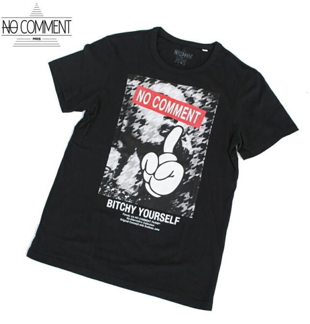 NO COMMENT PARIS ノーコメント パリ Tシャツ 半袖 クルーネック Tシャツ メンズ 2021年モデル 正規販売店 LTN270 ブラック