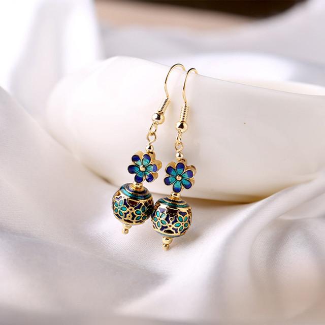 可愛いピアス 耳飾り アクセサリー チャイナ風 オリジナル 気質が良い プレゼント パーティー 撮影 ブルー