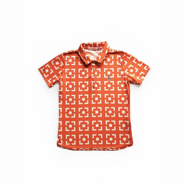 Tee-chi レディース サンゴクロスポロシャツ <花ブロックスクエア><ORANGE>