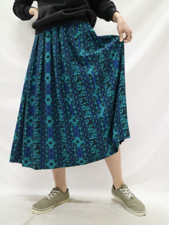 all pattern pleats skirt【0758】