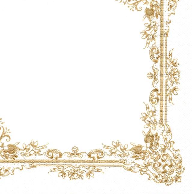 【Maki】バラ売り2枚 ランチサイズ ペーパーナプキン Frame Ornaments ホワイトxパールゴールド