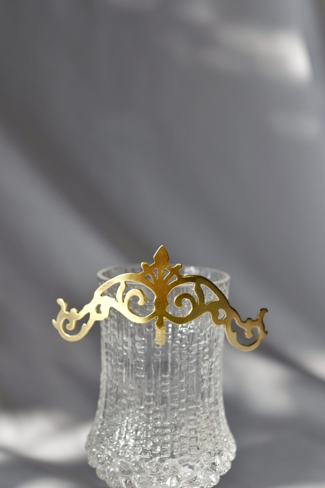 Handcrafted Hair Hook arabesque - Floral crown - ヘアフック - 花柄冠- Gold