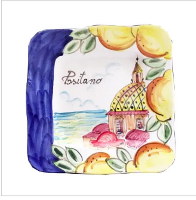 イタリア 手焼き手描き セラミック灰皿小物入れ ポジターノの海
