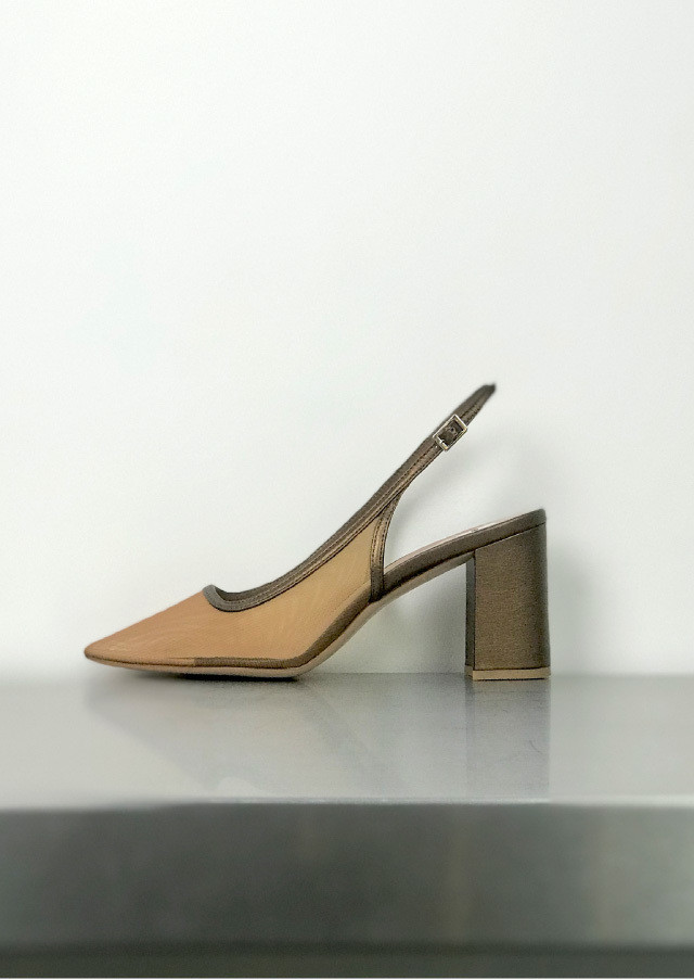 【WEB限定】Tulle back sling pumps
