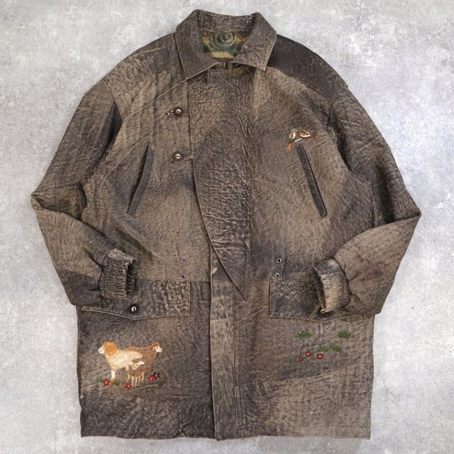 embroidery tyrolean leather jacket