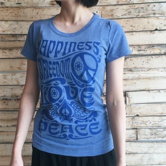 ハンドプリントTシャツ LOVE&PEACE
