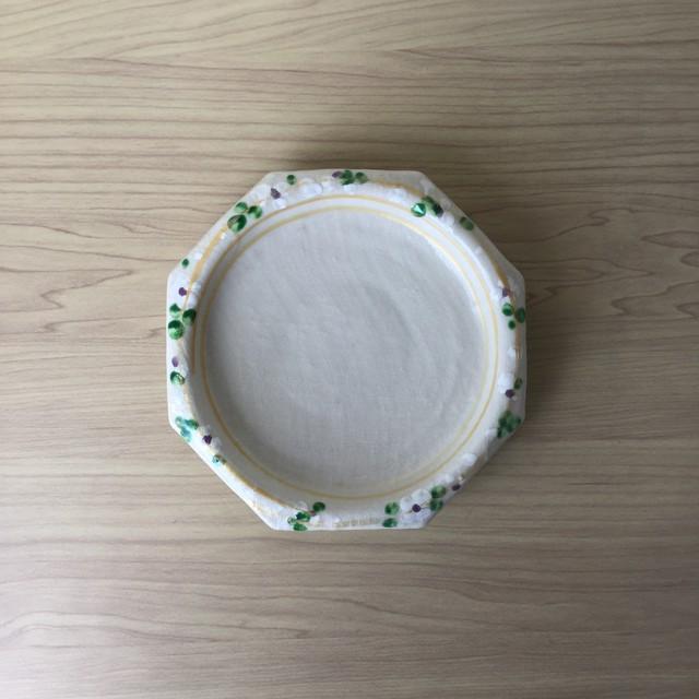 【三川内焼】白高麗錦三色花絵  八角フルーツ皿